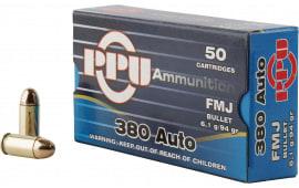 PPU PPH380AF Handgun 380 ACP 94 GR Full Metal Jacket - 50rd Box