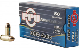 PPU PPH380AF Handgun 380 ACP 94 GR Full Metal Jacket - 50 Round Per Box - 1000 Round Case