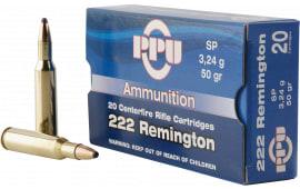PPU PP222 Standard Rifle 222 Remington 50 GR Soft Point - 20rd Box