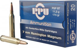PPU PP3082 Standard Rifle 7mm Remington Magnum 174 GR Pointed Soft Point - 20rd Box