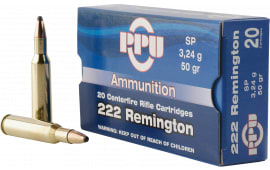PPU PP222 Standard Rifle 222 Remington 50 GR Soft Point - 20rd Box
