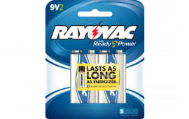 Rayovac A1604-2J Alkaline 9 Volt Batteries 2 Pack Card