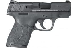 "Smith & Wesson 11809 M&P 9 Shield M2.0 *MA Compliant* Double 3.1"" 7+1/8+1 Black Polymer Grip/Frame Grip Black Armornite Aluminum Alloy"