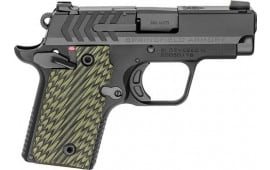 "Springfield Armory PG9109 911 380 ACP Single 2.7"" 6+1/7+1 Black/Green G10 Grip Black Nitride"
