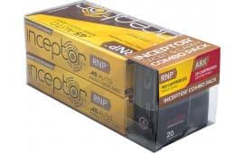 Inceptor 45RNPARX Sport & Carry 45 ACP 135/118 GR RNP/ARX - 120rd Box