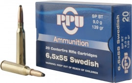 PPU PP30061 Metric Rifle 6.5x55 Swedish 139 GR Soft Point - 20rd Box