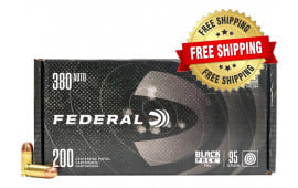 Federal Black Pack .380 ACP 95gr Full-Metal Jacket Round Nose 800 Round Case - Free Shipping