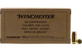 Winchester Ammo .380 ACP  Brass Case .95 Grain FMJ-FN  Bullet, Brown Box Service Grade - 50 Rds / Box - 500 Round Case