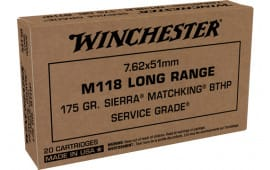 Winchester Ammo SGM118LRW 7.62X51 M118 LR 175 Boat Tail Hollow Point - 20rd Box