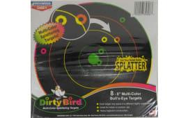 """Birchwood Casey 35818 Dirtybird 8"""" Bullseye Multicolor 8PK"""