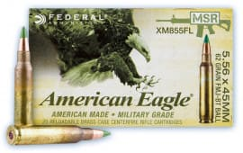 Federal American Eagle XM Rifle Ammunition - Case - 5.56 NATO 62 Gr Penetrator, XM855FL - 500 Rounds