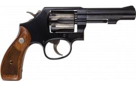 """Smith & Wesson 150786 10 Classic DA/SA 4"""" 6 rd Wood Grip Blued Revolver"""