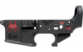 Spikes STLS019CFA Stripped Lower Spider with Red Color Fill AR-15 Rifle Black Hardcoat Anodized/Color Fill