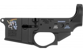 Spikes STLS030CFA Lower Snowflake with Color Fill AR Platform Black Hardcoat Anodized
