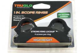 "1"" Scope Rings 4 Screws Per Ring High Height Weaver/Picatinny Rail mount - Black - TG8961B2"