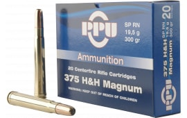 PPU PP375S Standard Rifle 375 Holland & Holland Magnum 300 GR Soft Point Round Nose - 10rd Box