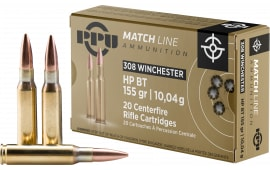 PPU PPM3081 Match 308 Winchester/7.62 NATO 155 GR Hollow Point Boat Tail - 20rd Box