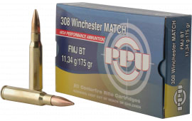 PPU PPM3083 Match 308 Winchester/7.62 NATO 175 GR Full Metal Jacket Boat Tail - 20rd Box