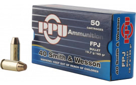 PPU PPH40F Handgun 40 Smith & Wesson (S&W) 165 GR Flat Point Jacketed - 500rd Case