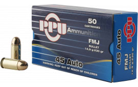 PPU PPH45F Handgun 45 ACP 230 GR Full Metal Jacket - 50rd Box