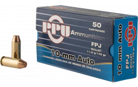 PPU PPH10F Handgun 10mm Automatic 170 GR Flat Point Jacketed - 50rd Box