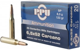 PPU PP3083 Metric Rifle 6.5x52mm Carcano 123 GR Soft Point - 20rd Box