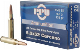 PPU PP3006G Metric Rifle 6.5x52mm Carcano 139 GR Full Metal Jacket - 20rd Box