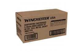 Winchester Ammo WM8551000 USA 5.56x45mm NATO 62 GR Full Metal Jacket Lead Core Green Tip (FMJLC) (Sold by Case) - 1000rd Case