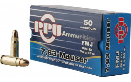 PPU PPH763 Handgun 7.63mm Mauser 85 GR Full Metal Jacket - 50rd Box