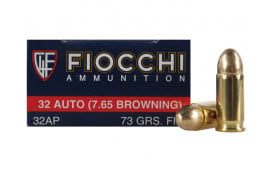 Fiocchi 32 ACP (7.65 Browning) 73 Grain FMJ 50rd Box