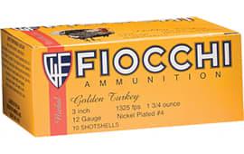 """Fiocchi 123TRK6 Turkey Nickel Plated 12GA 3"""" 1-3/4oz #6 Shot - 10sh Box"""