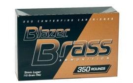 CCI Blazer Brass 9mm 115gr FMJ Ammunition 52001 - 350rd Box