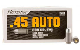 Century Arms AM2042 Hotshot .45 ACP Ammunition - 230 GR Full Metal Jacket, Steel Case, Non-Corrosive - 50 Round Box