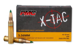 PMC 556K X-Tac 5.56 NATO LAP M855 Ammunition 1000 Round Case - 62 GR -Green Tipped, Brass, Boxer, Non-Corrosive 20 Rounds / Box In A 1000 Round Case