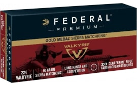 Federal GM224VLK1BAG Gold Medal 224 Valkyrie 90 GR Sierra MatchKing Boat Tail Hollow Point - 80rd Case