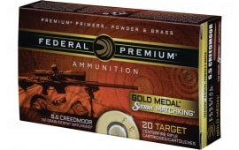 Federal GM65CRD1BAG1 Gold Medal 6.5 Creedmoor 140 GR Sierra MatchKing Boat Tail Hollow Point - 80rd Case