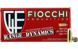 Fiocchi 380ARD10 Range Dynamics Range Pack 380 ACP 95 GR Full Metal Jacket - 1000rd Case