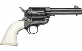 "Taylors and Company OG1404 1873 Cattleman Outlaw Legacy Engraved Single 4.75"" 6rd Ivory Synthetic Grip Blued Engraved Revolver"
