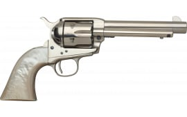 "Taylors and Company 555113 1873 Cattleman Nickel Single 4.75"" 6rd Mother of Pearl Grip Nickel Revolver"