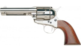 "Taylors and Company 555124 1873 Cattleman Nickel Single 4.75"" 6rd Walnut Grip Nickel Revolver"