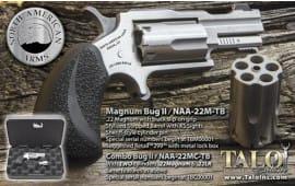NAA NAA22MCTB MINI-REVOLVER .22WMR/.22LR BUG II S/S Matte Black GripS Talo Revolver