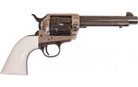 "Cimarron PP410LSFI Frontier .45LC PW FS 4.75"" Engraved SILVER/IVORY Revolver"
