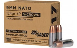 Sig Sauer E9MMA2P-M17-20 124 Jacketed Hollow Point VCRWN - 20rd Box