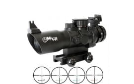 Sun Optic Tactical Precision Prismatic 4x32 Rifle Scope Red/Gree/Blue Reticle Matte Finish Black PS30432IROS