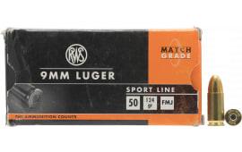 RWS 210140050 Sport 9mm Luger 124 FMJ 20/50 - 50rd Box