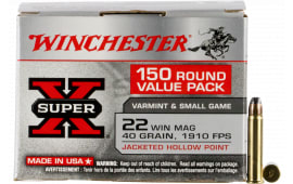 Winchester Ammo X22MH150 22 WIN Mag40 Jacketed Hollow Point **VP** 150/03 - 150rd Box