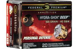 Federal P40HSD1 40 S&W 165 HS Deep - 20rd Box