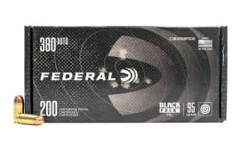 Federal Black Pack .380 ACP 95 GR Full-Metal Jacket Ammunition , Round Nose - 200 Round Box - Brass, Boxer, Reloadable
