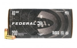 Federal Black Pack .40 S&W 165 GR Full Metal Jacket 200 Round Box - Brass, Boxer, Reloadable