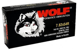 Wolf 7.62X54R 148 Grain Full Metal Jacket Bi Metal - 500rd Case